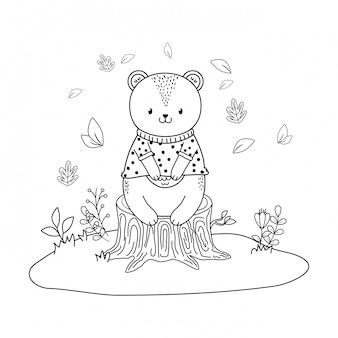 Leśny charakter niedźwiedzia słodkiego