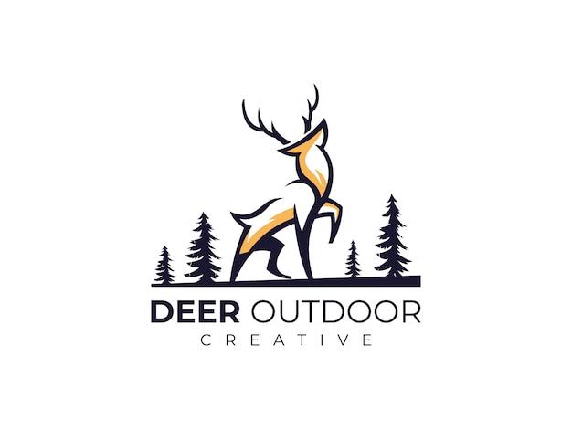 Leśny outdoor deer elk antelope logo ilustratorzy