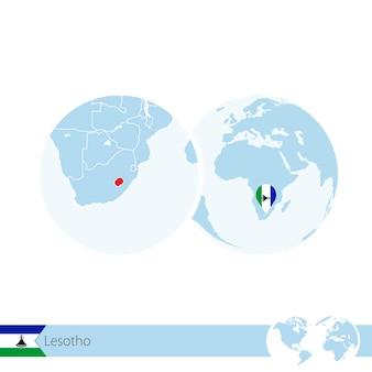 Lesotho na świecie z flagą i regionalną mapą lesotho. ilustracja wektorowa.