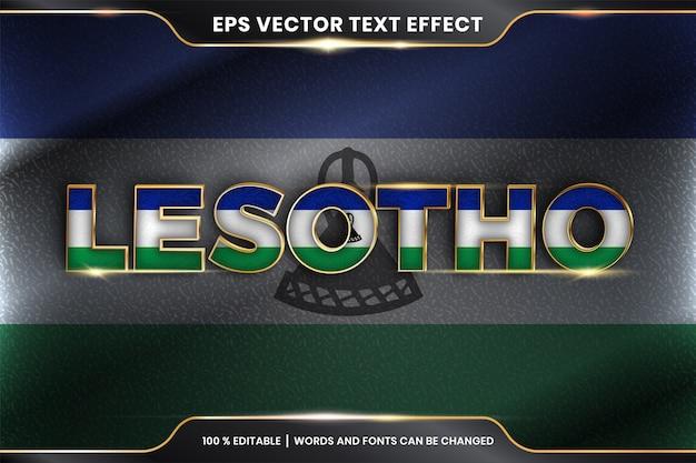 Lesotho z flagą kraju, edytowalny styl efektu tekstowego z koncepcją gradientu w kolorze złotym