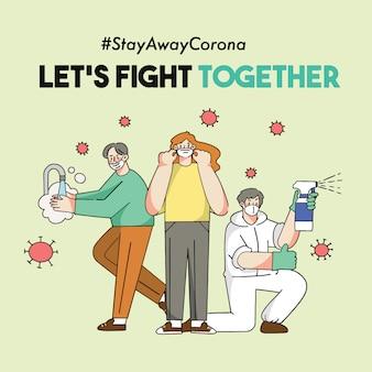 Let's fight corona together ii covid-19 doodle ilustracja kampania bezpieczeństwa