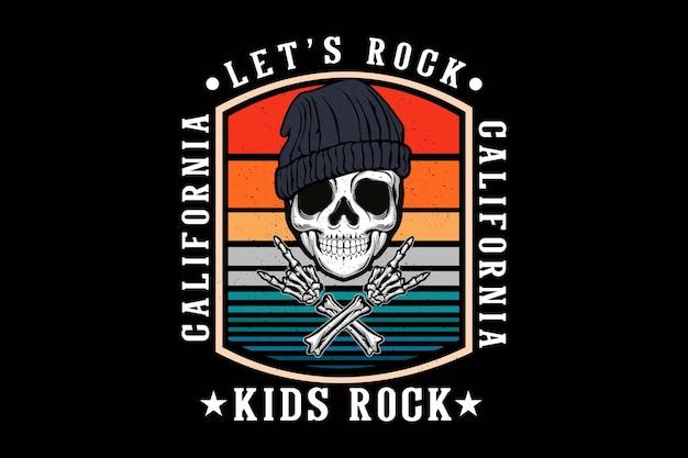 Let's rock california ilustracja projekt z czaszką
