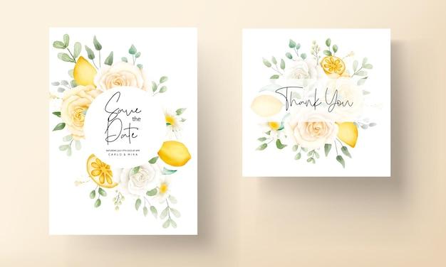 Letni akwarela kwiatowy z botanicznym zestawem kart ślubnych z owocami cytryny