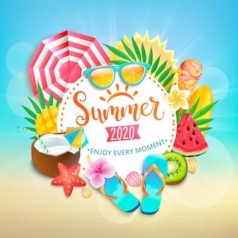 Letni baner powitalny. jasne symbole gorącego sezonu - lody, arbuz, mango i kiwi, liście tropikalne.