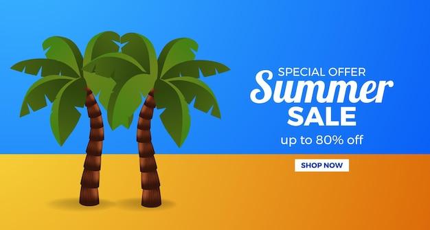 Letni baner promocyjny oferty sprzedaży z palmami na niebiesko i pomarańczowo
