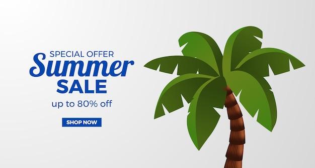 Letni baner promocyjny oferty sprzedaży z palmami