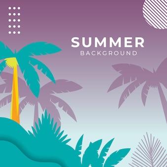 Letni baner społecznościowy z kwiatami i tropikalnym letnim liściem. szablon postu na instagramie z motywem letnim