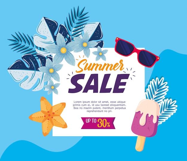 Letni baner sprzedaży, plakat rabatu sezonowego z okularami przeciwsłonecznymi, tropikalnymi liśćmi i lodami, zaproszenie na zakupy z etykietą do trzydziestu procent