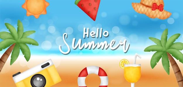 Letni baner sprzedaży z letnim elementem.