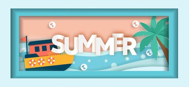 Letni baner sprzedaży z letnimi elementami w stylu cięcia papieru