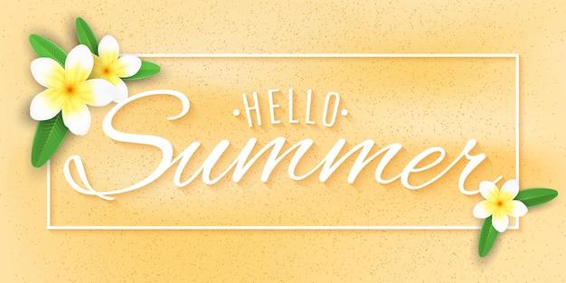 Letni baner. tropikalny plumeria kwitnie na plaży. stylowy napis do twojego projektu. ilustracja