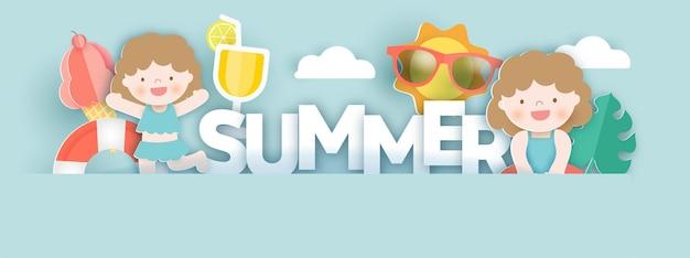 Letni baner z letnimi elementami w stylu cięcia papieru
