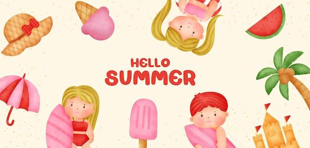 Letni baner z letnimi elementami w stylu przypominającym akwarele