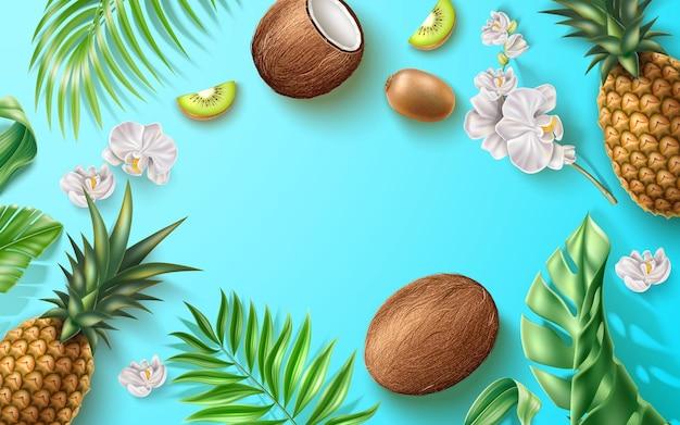 Letni baner z realistycznymi owocami tropikalnymi kwiatami i liśćmi