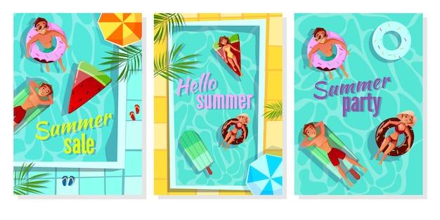 Letni basen ilustracja plakat sprzedaż sklep, zaproszenie na przyjęcie i powitanie latem witam