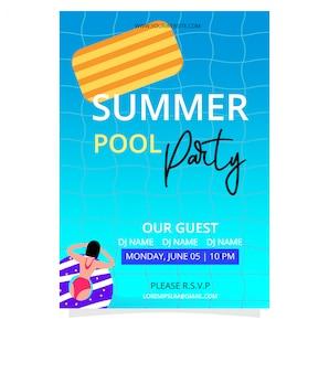 Letni basen party plakat szablon