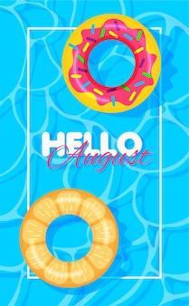 Letni basen z kołami ratunkowymi z pączkami i pomarańczowym nadrukiem witam sierpnia.
