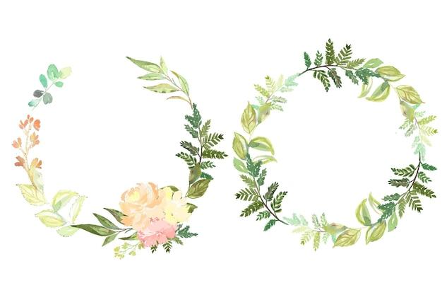 Letni botaniczny akwarelowy kwiatowy wieniec tła