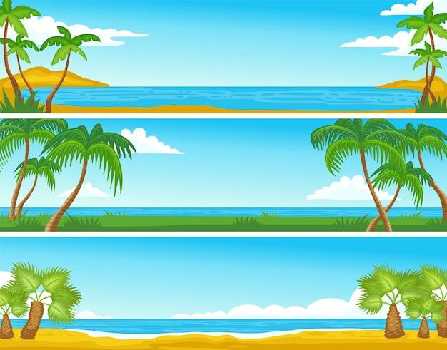 Letni brzeg morza plaża tła zestaw z płaską ilustracją palm