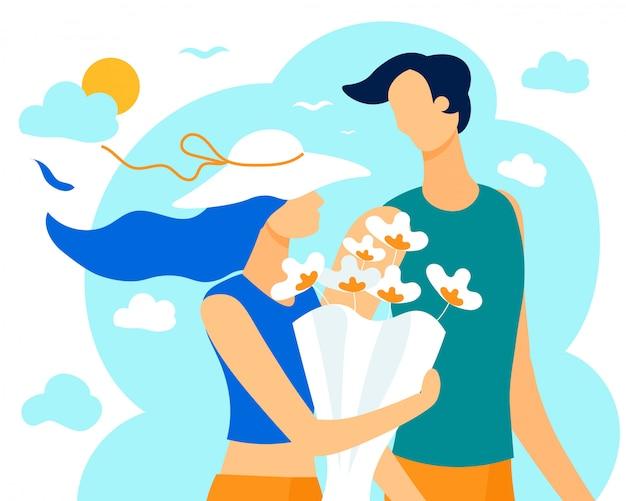 Letni bukiet informacyjny banner dla miłości pary
