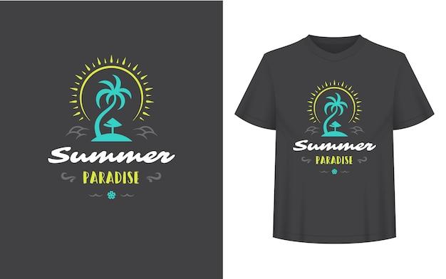 Letni cytat lub powiedzenie można wykorzystać na koszulce, kubku, kartce z życzeniami, nakładkach fotograficznych, nadrukach dekoracyjnych i plakatach. letni raj wiadomość i palma z ilustracji wektorowych słońce.