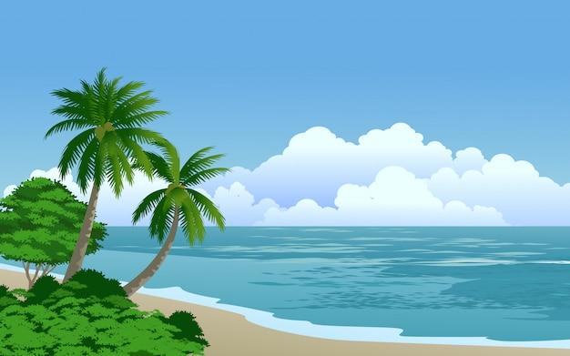 Letni dzień w tropikalnej plaży z palmami kokosowymi