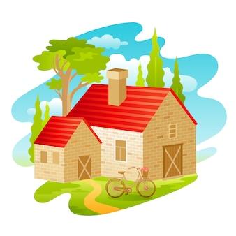 Letni dzień wiejski dom krajobraz.