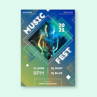 Letni festiwal muzyczny wydarzenie plakat szablon