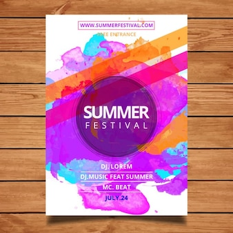 Letni festiwal plakatu szablonu