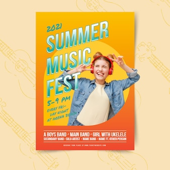 Letni festyn muzyczny i kobieta plakat szablon