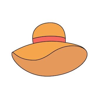 Letni kapelusz damski w stylu bazgroły. akcesoria plażowe, nakrycia głowy. prosta ilustracja na białym tle. ikona lato