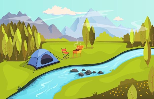 Letni kemping i koncepcja turystyki przyrodniczej. kemping na łonie natury nad rzeką z grillem. krajobraz z górami, lasem, rzeką i namiotem, ilustracja w stylu płaski