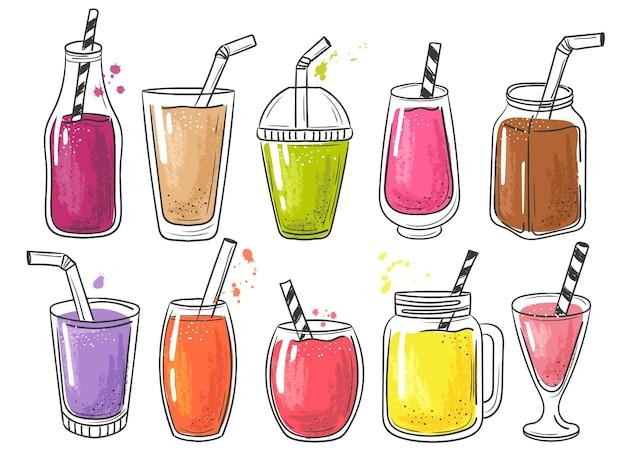 Letni koktajl. owoce zimne zdrowe napoje witaminowe sok wstrząsnąć ilustracja.