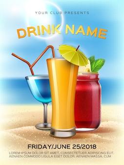 Letni koktajl party plakat sok smoothie słoik mason pić kieliszek koktajlowy na nadmorskiej plaży