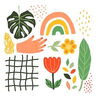 Letni kolaż roślin, kwiatów, dłoni, tęczy, liści monstera w stylu skandynawskim. vector minimalistic hand draw elements do tworzenia tekstur i tła, plakatów, kart z logo i nie tylko