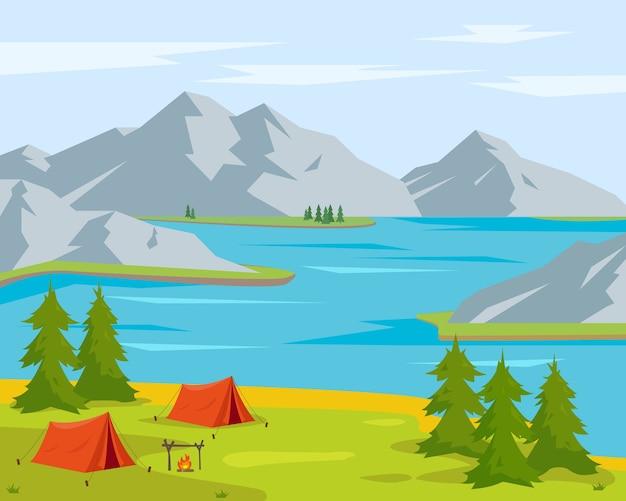 Letni krajobraz kempingowy. jezioro lub rzeka, drzewa, namioty kempingowe orande i góry. czas na koncepcję podróży. ilustracja tło.