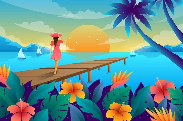 Letni krajobraz tła