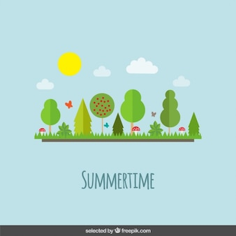 Letni krajobraz w stylu projektowania płaskiego