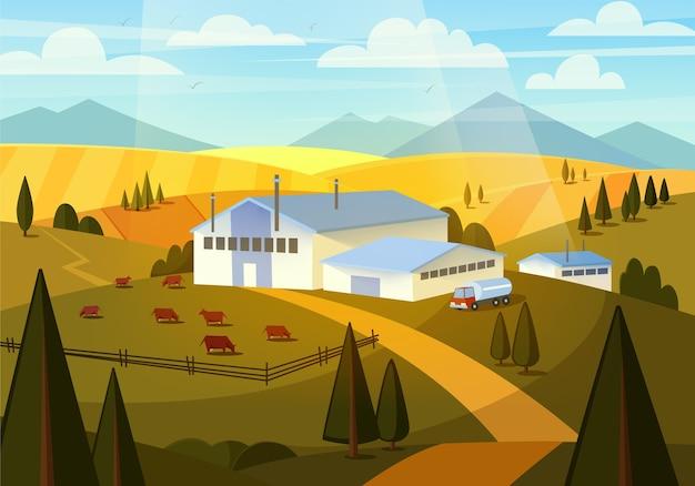 Letni krajobraz wiejski z krowami, wzgórzami i farmą. mleczarnia, produkcja mleka.