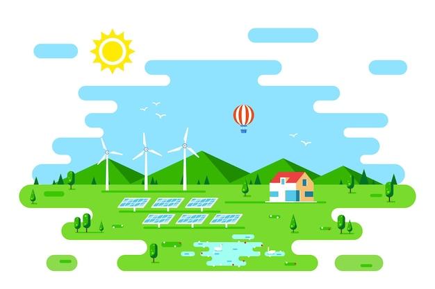 Letni krajobraz z domem przyjaznym dla środowiska. panele słoneczne i turbiny wiatrowe. płaski styl