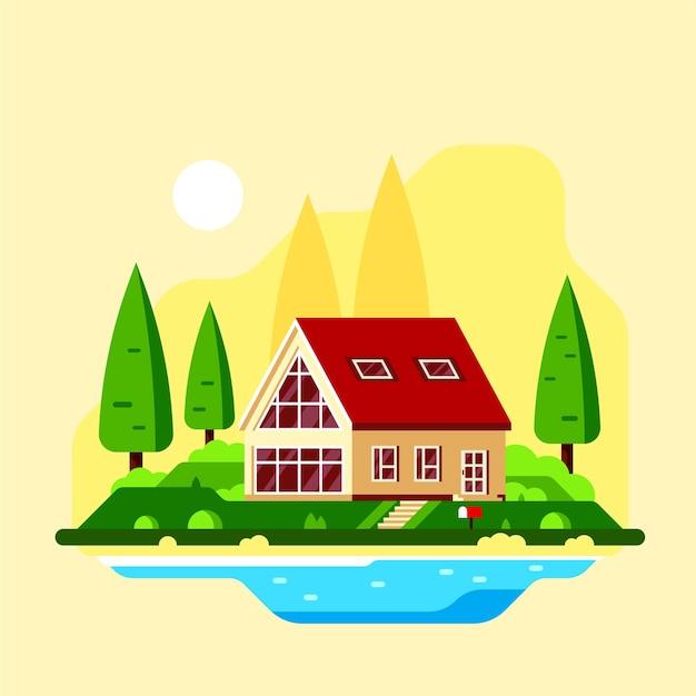 Letni krajobraz z drzewami i jeziorem