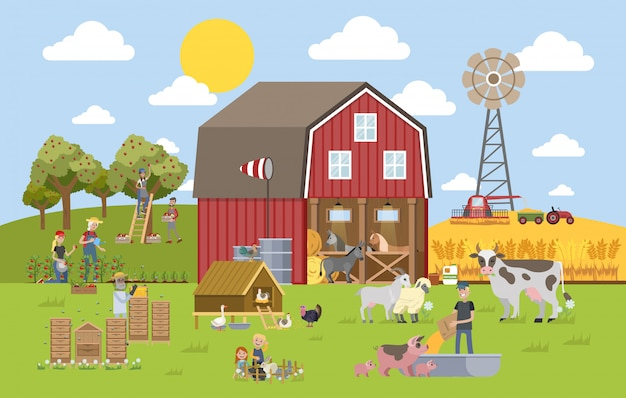 Letni krajobraz z farmą.