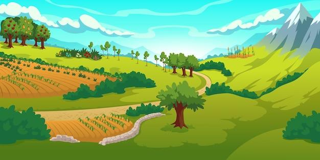 Letni krajobraz z górami, zielonymi łąkami, polami i ogrodem