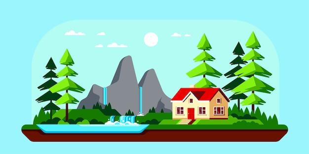 Letni krajobraz z jeziorem i górami