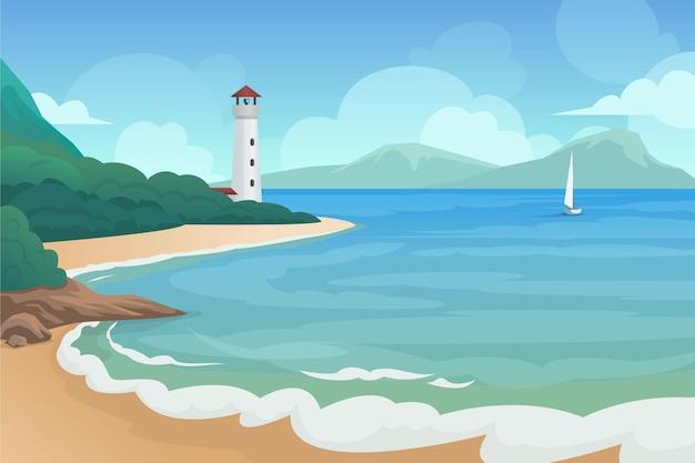 Letni krajobraz z latarnią morską