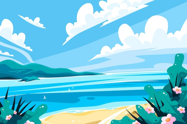 Letni krajobraz z plażą
