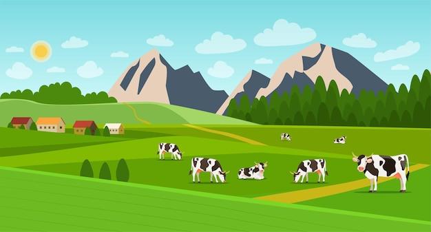 Letni krajobraz z wioską i stadem krów na polu. ilustracja wektorowa płaski.
