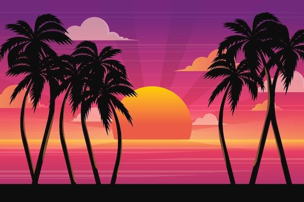 Letni krajobraz z zachodem słońca