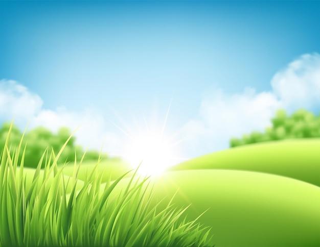 Letni krajobraz z zielonymi wzgórzami i łąkami, niebieskim niebem i chmurami