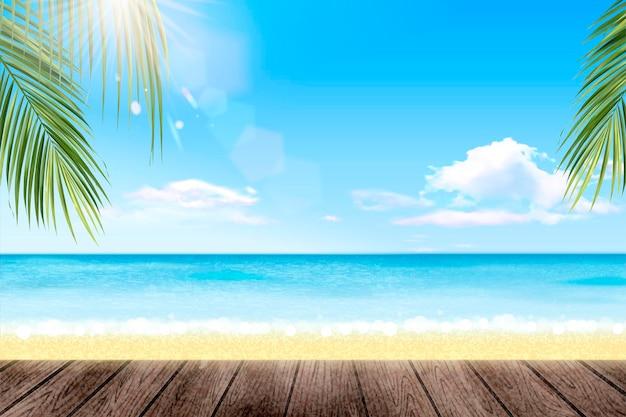 Letni kurort z pięknym oceanem i palmami?